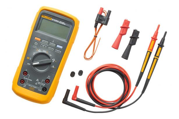 Fluke 87V MAX digital multimeter with leads, probes, temperature adapter