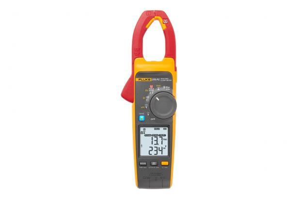 Measure voltage and current with the clamp jaw of the Fluke 378 FC clamp meter.