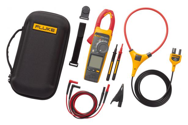 Fluke 378 FC includes clamp, leads, grounding clip, iFlex high-current probe, magnetic hanging strap, premium carrying case.