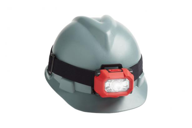The HL-200 EX headlamp easily fits over a hard hat